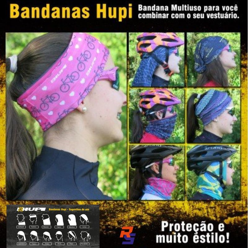 Bandana Multiuso (Buff) - Preto Cubes | HUPI