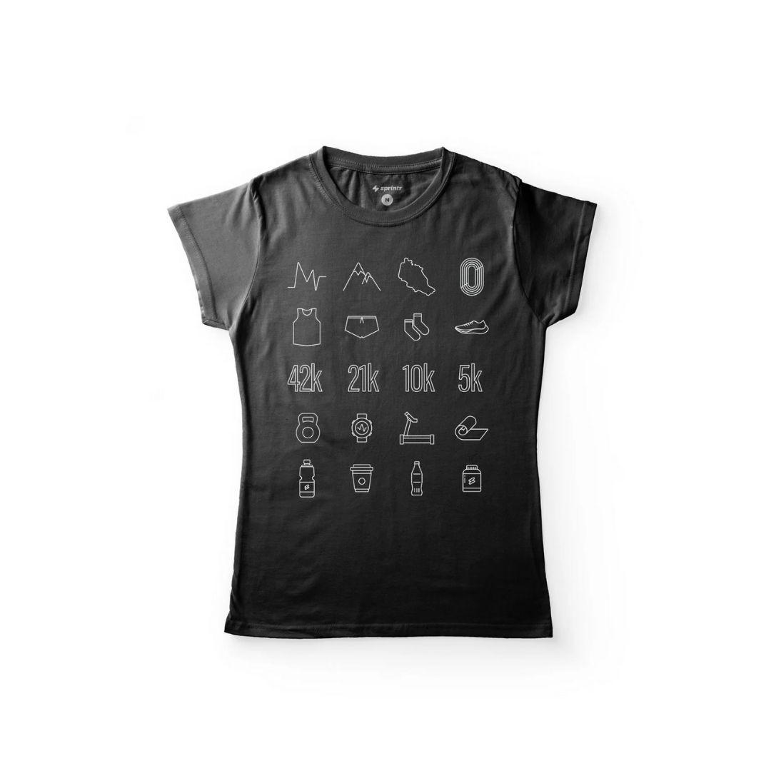 Camiseta Casual Baby Look - Corrida Ícones   SPRINTR