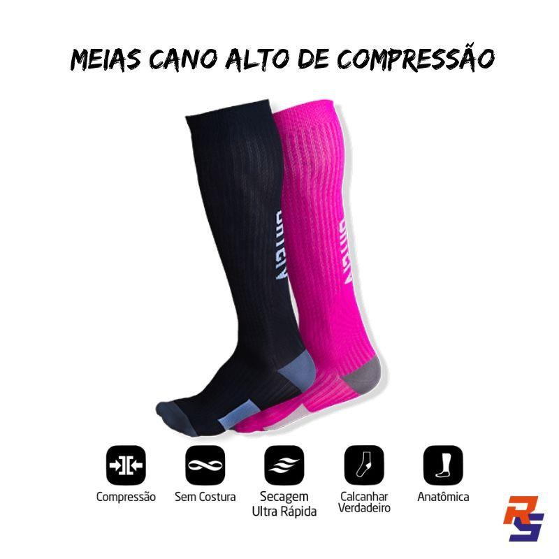 Meia de Compressão Pró Cano Longo - Preto com Amarelo Luminoso | VISTHO