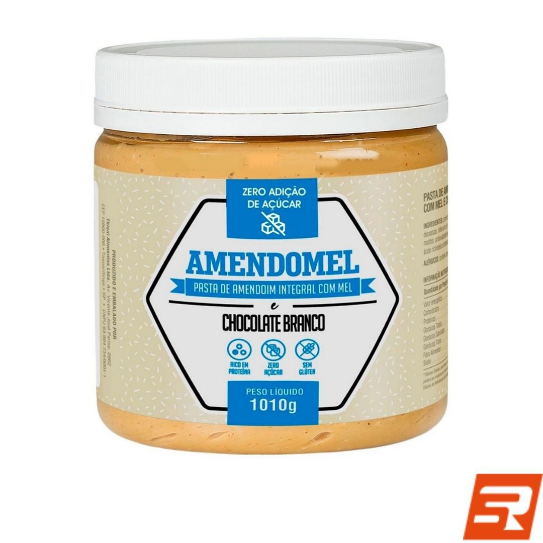 Pasta de Amendoim de Chocolate Branco - 1kg   AMENDOMEL