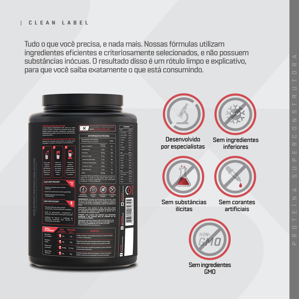 Whey Protein Concentrado - Pote 900g   DUX
