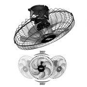 Ventilador de Teto Orbital PT Bivolt 50 cm com Giro de 360º 6 pás