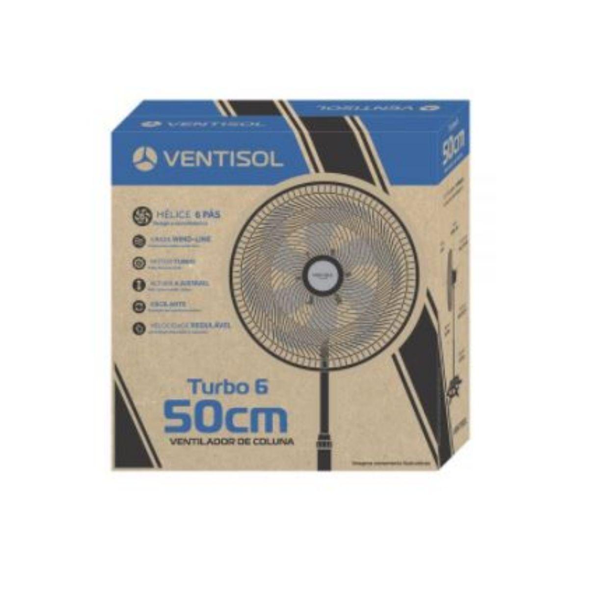 Ventilador de Coluna Preto 50cm Turbo 6 Pás Oscilante Ventisol
