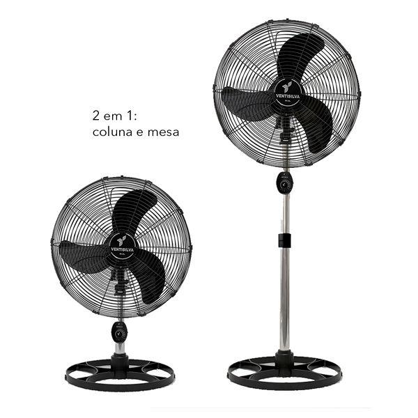 Ventilador de Mesa / Coluna 50cm VENTI50CP Preto com Grade Pintura Epóxi Preta