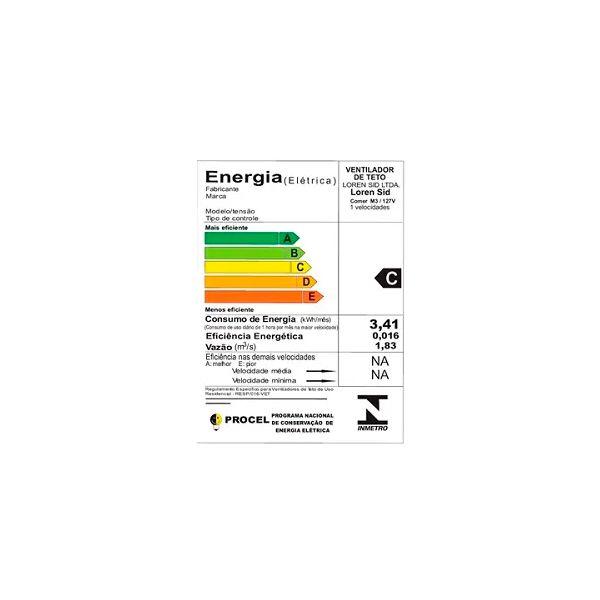 Ventilador de Teto Comercial m3 Loren Sid Branco