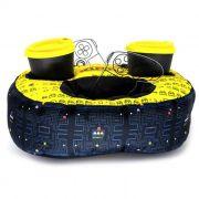 Almofada Porta Controle e Copos Pac-Man
