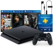 Console Playstation 4 Slim 1TB Mega Pack 2 com 3 Jogos