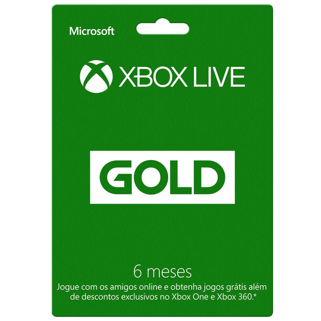 Cartão Xbox Live Gold 6 meses