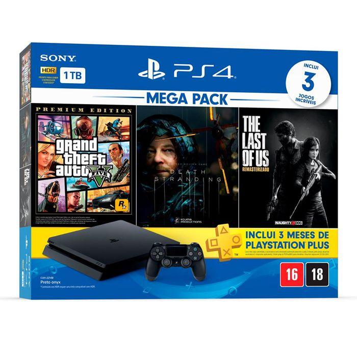 Console Playstation 4 Slim 1TB Mega Pack 2 com 3 Jogos