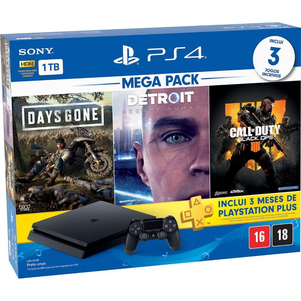 Console Playstation 4 Slim 1TB Mega Pack com 3 Jogos