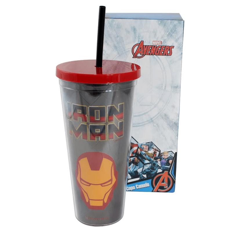 Copo com Canudo Iron Man Metálico