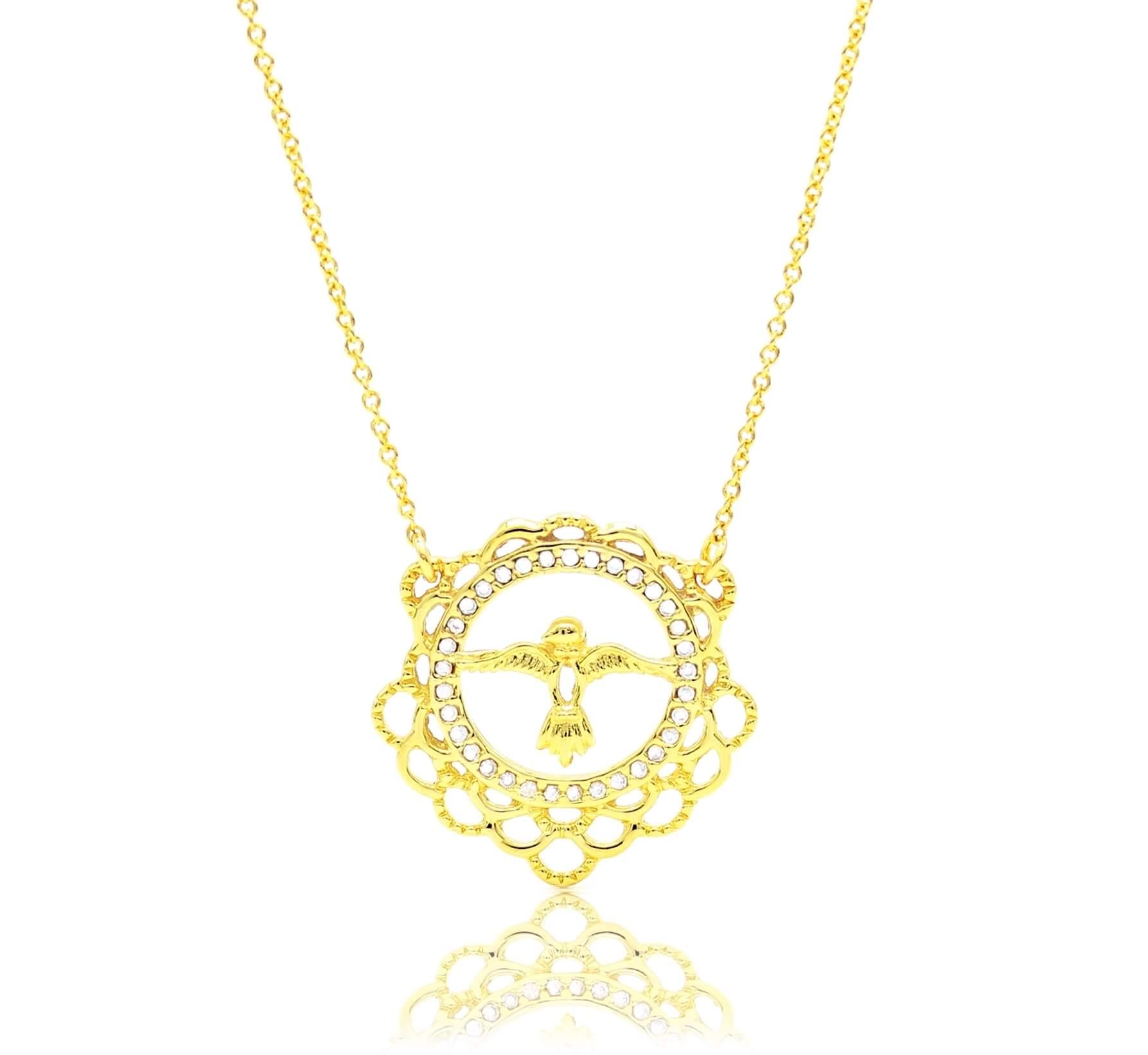 Corrente Espirito Santo Folhado a Ouro