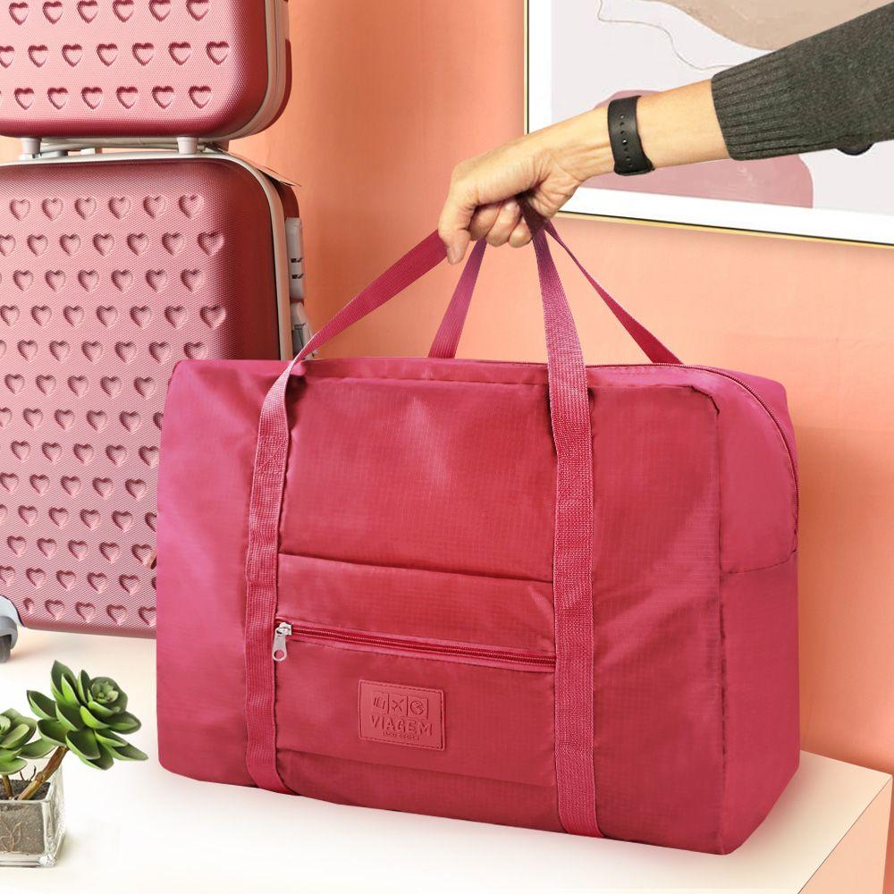 Bolsa de Viagem Dobrável Retangular Estampa Lisa Jacki Design