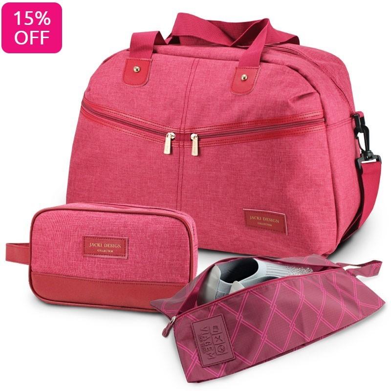 Conjunto Bolsa de Viagem, Necessaire com Alça Lateral e Bolsa Porta Sapato Estampado