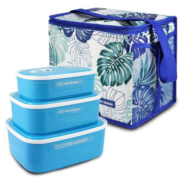 Conjunto Bolsa Térmica Quadrada e Kit de 3 Pçs Potes p/ Alimentos