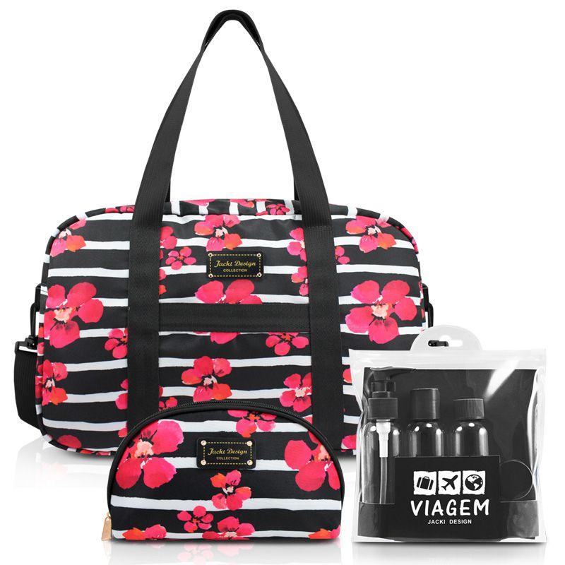 Conjunto de bolsa e necessaire + kit de frascos de 7 peças