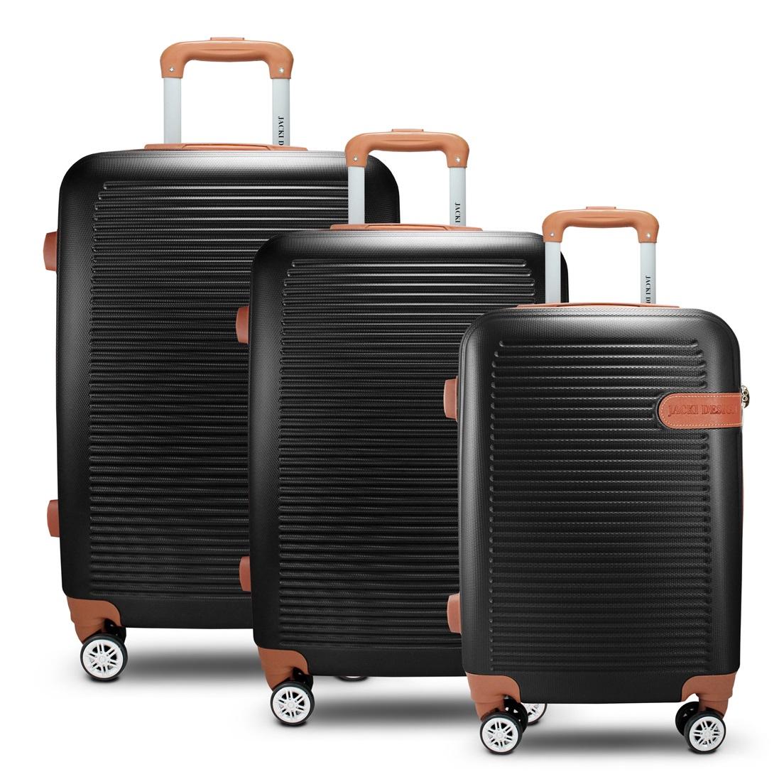 Conjunto de Mala de Viagem 3 Peças Premium Jacki Design Viagem Preto