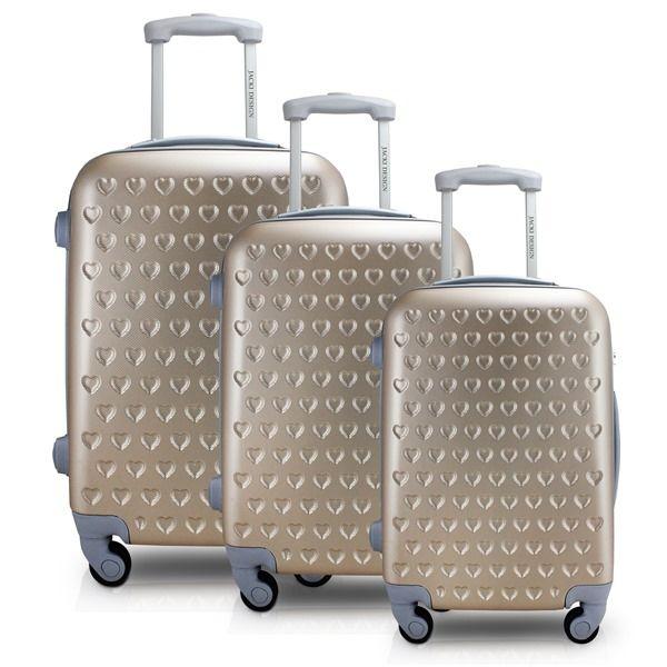 Conjunto de Mala de Viagem com 3 Peças Dourada Jacki Design Love