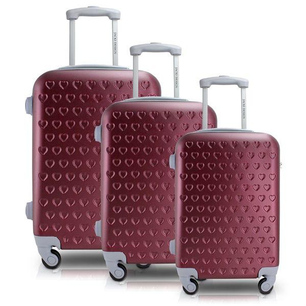 Conjunto de Mala de Viagem Love com 3 Peças Vinho Jacki Design