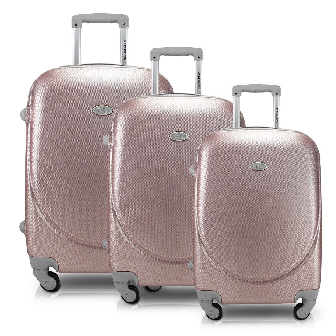 Conjunto de Malas de Viagem com 3 Peças Select Rose Gold Alça Cinza Jacki Design