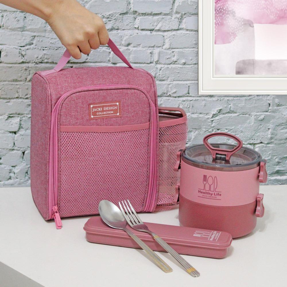 Conjunto de Marmita 2 Andares , Bolsa Termica e Porta Talher Linha Concept Jacki Design