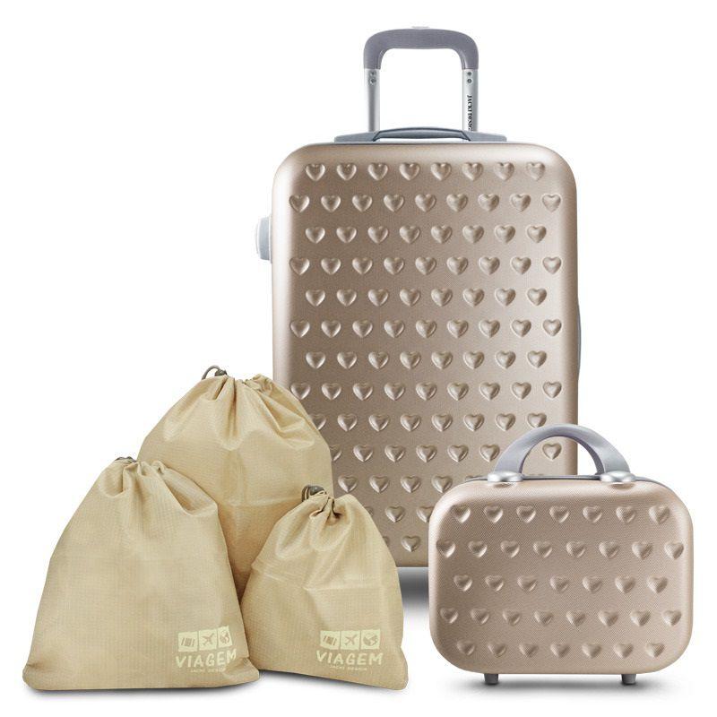 Conjunto Mala de Viagem e Frasqueira Love Jacki Design Viagem com Kit Organizador de Malas de 3 Peças Jacki Design