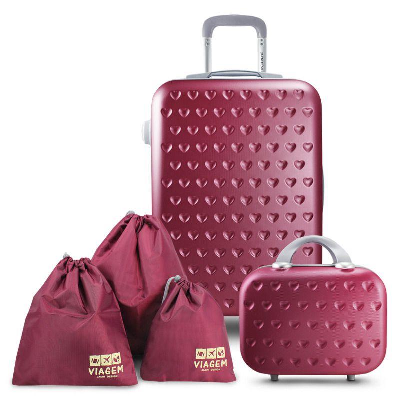 Conjunto Mala de Viagem e Frasqueira  Love Viagem com Kit Organizador de Malas de 3 Peças Jacki Design
