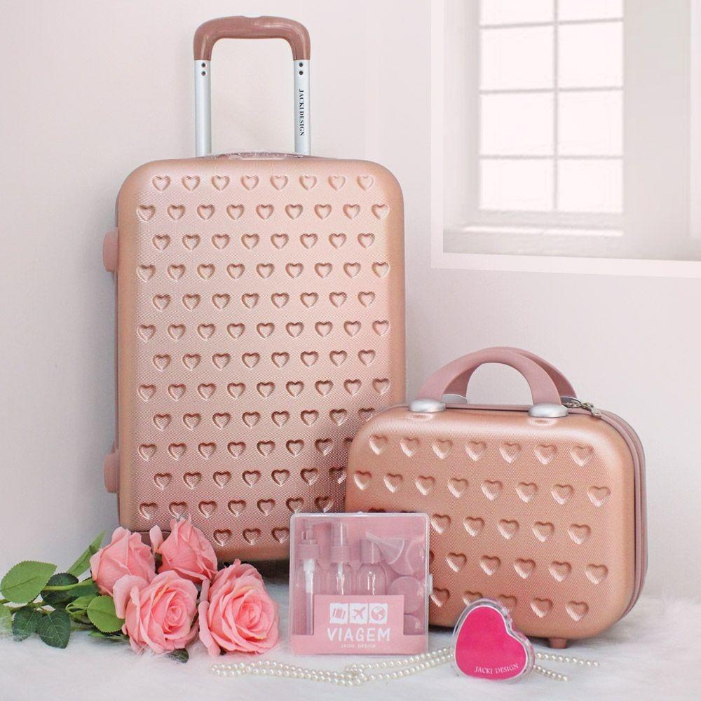 Conjunto Mala e Frasqueira de Viagem Love Rose Jacki Design