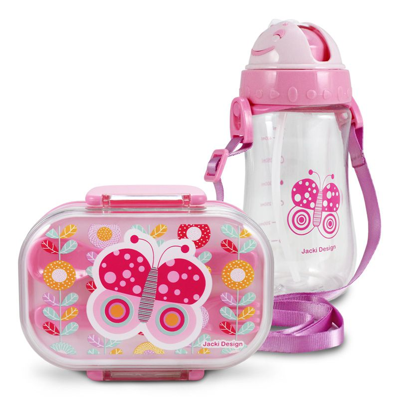 Conjunto Pote para Lanche e Squeeze Infantil Pequeninos Menina Jacki Design