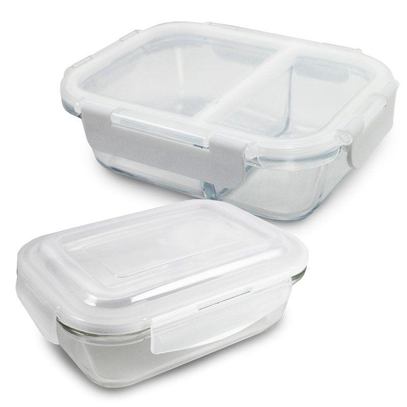 Conjunto Potes de vidro Hermético Branco sem divisória 400ml e com 2 divisórias 860ml