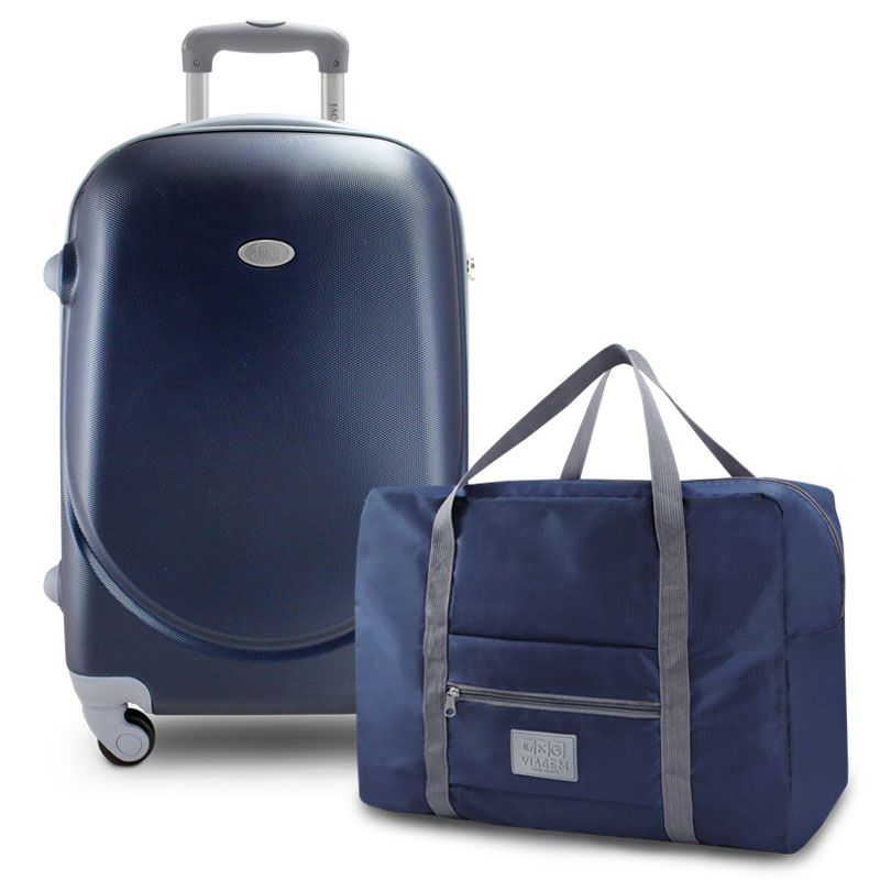 Kit Mala de Viagem 360º Select Azul ABS com Bolsa de Viagem