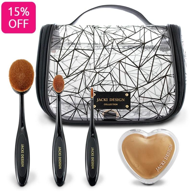 Kit Beauty com 3 pinceis variados e espelhinho