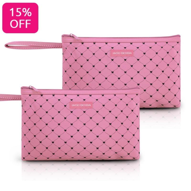 Kit de 2 Necessaires com Alça Tamanho Grande Pink Lover Jacki Design
