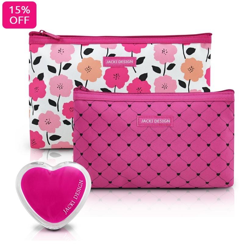 Kit de Necessaire de 2 Peças Pink Lover e Espelho de Bolsa Coração