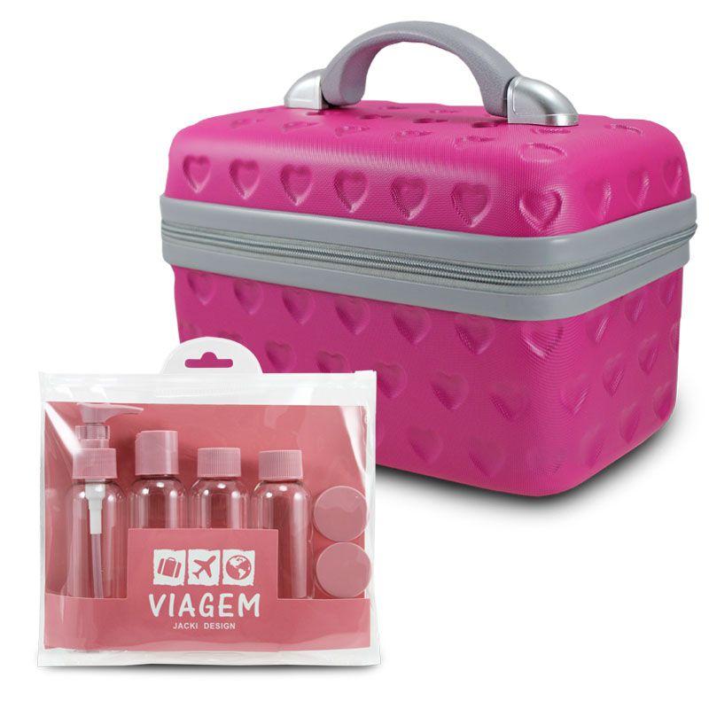 Kit de frascos de 7 peças e Frasqueira Love Pink