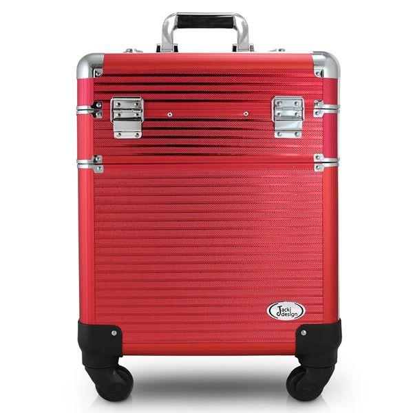 Maleta Profissional 2 Andares com Rodinhas de 360º Graus Vermelho Jacki Design