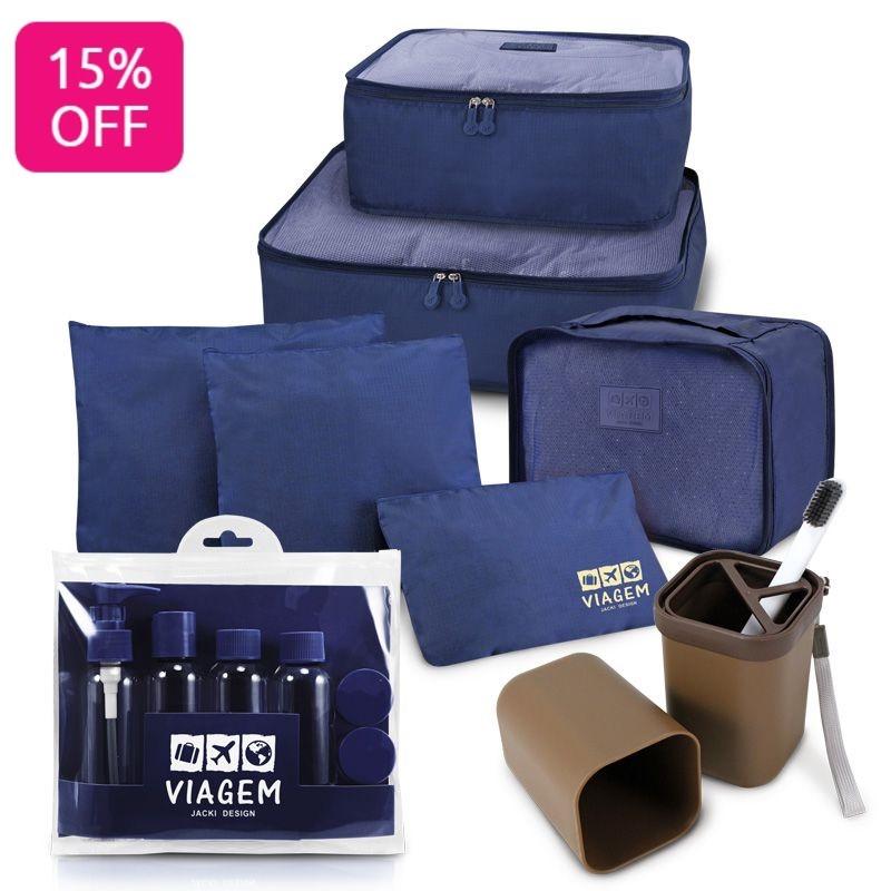 Porta Escova e Pasta de Dente e Kit Organizador de Malas de 6 Peças e Kit de Frascos para Viagem de 7 Peças