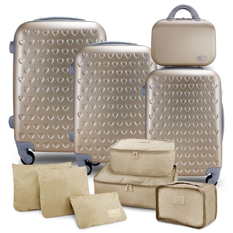 Conjunto de Mala e Frasqueira de Viagem Love Dourada com Kit Organizador de Malas de 6 Peças