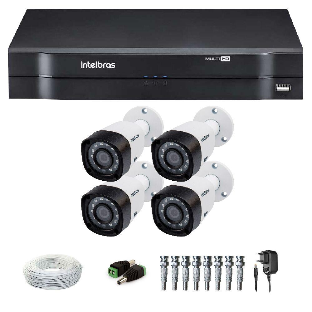 Kit 4 Câmeras de Segurança HD 1080p Intelbras VHD 1220 G4 + DVR Intelbras  Multi HD ...