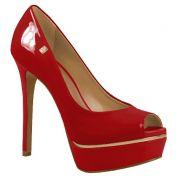 Sapato Peep Toe LOUCOS & SANTOS Verniz Vermelho