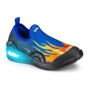 Tênis Infantil Bibi de Luz Space Wave Azul Estampado de Carro