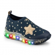 Tênis Infantil Bibi Roller Celebration Feminino Azul com Estampa de Estrelas