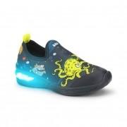 Tênis Infantil Bibi Space Wave Luz Masculino Azul de Peixes