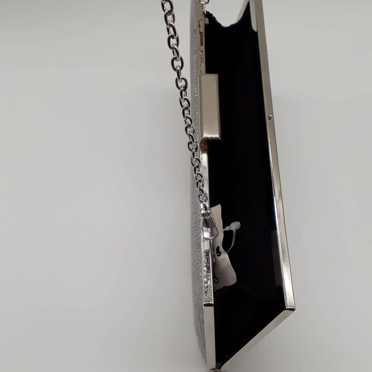 Bolsa Clutch Tecido Brilhante Prata
