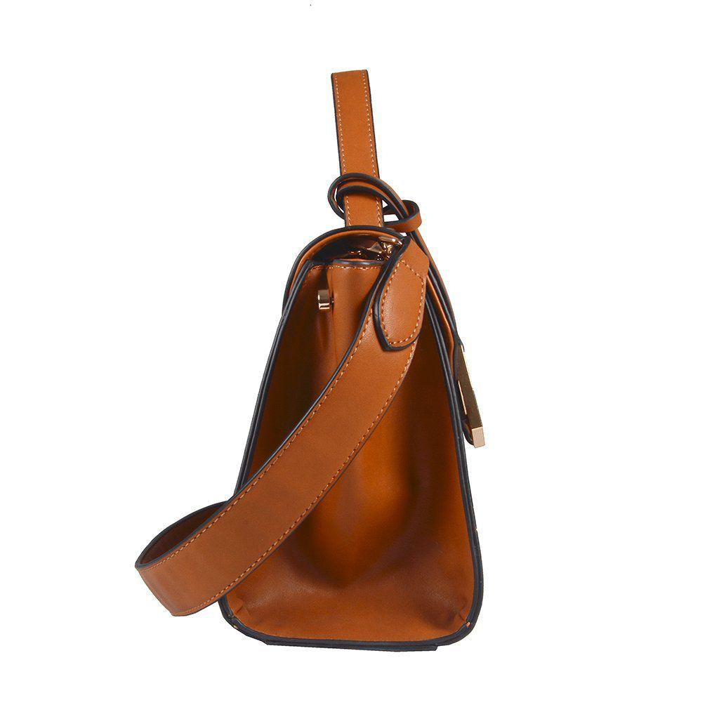 Bolsa Estruturada LOUCOS & SANTOS Caramelo com Alça de Ombro
