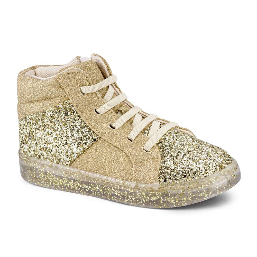 Bota Infantil BIBI Feminino Urban Boots Gliter Ouro Branco