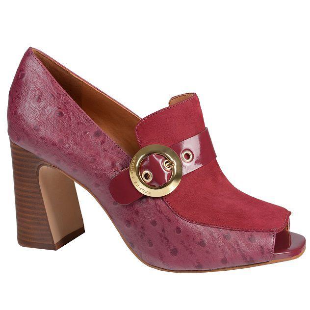 Sapato Peep Toe JORGE BISCHOFF Avestruz Vinho