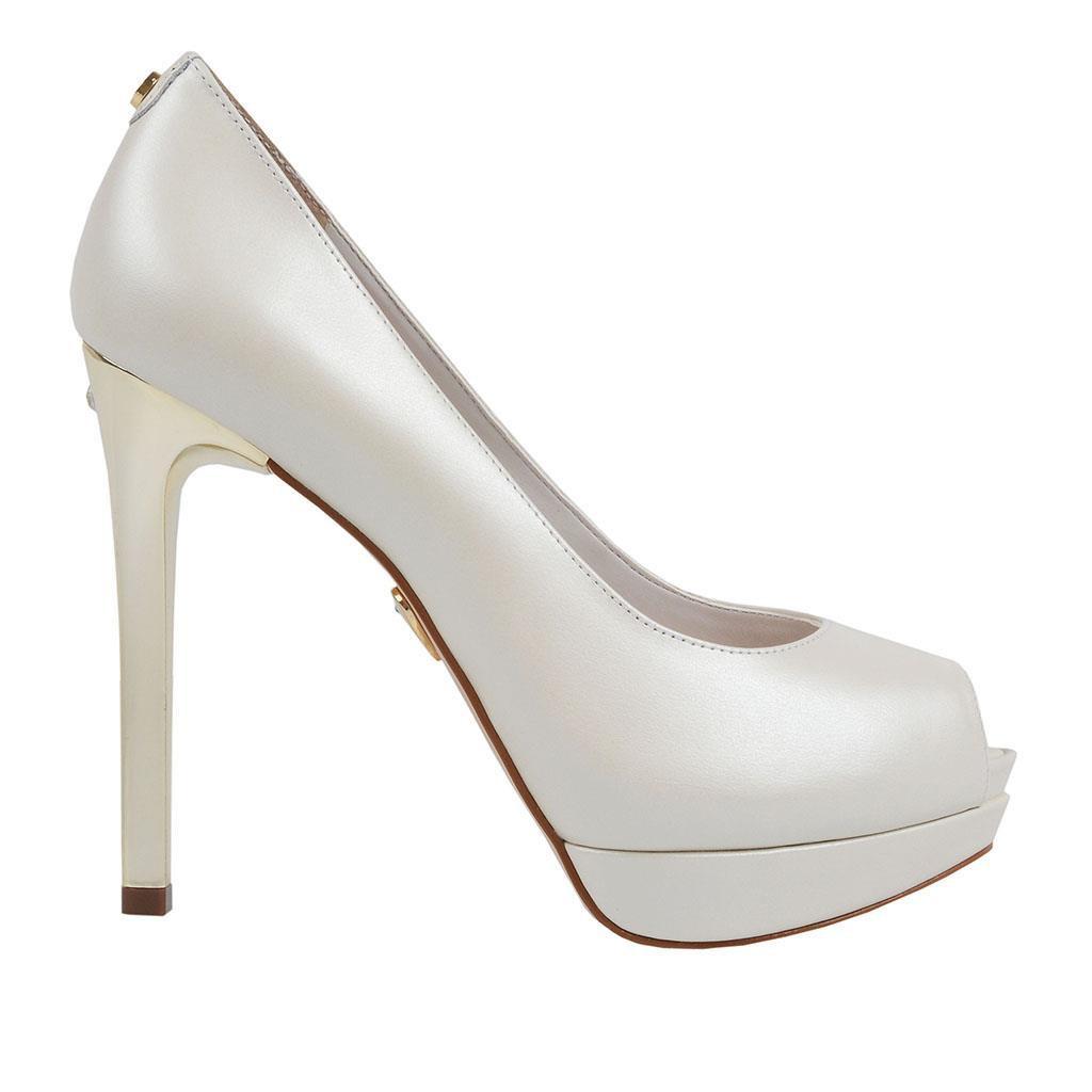 Sapato Peep Toe JORGE BISCHOFF Branco Acetinado