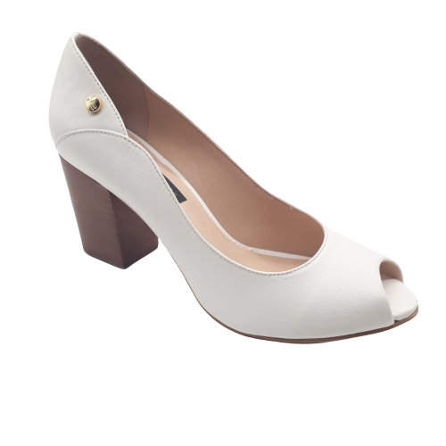 Sapato Peep Toe JORGE BISCHOFF Couro Floter Off