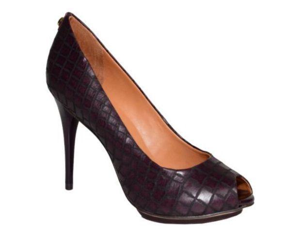 Sapato Peep Toe JORGE BISCHOFF Croco Merlot